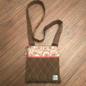Cinda B quilted hipster Bella Fiore Cocoa purse